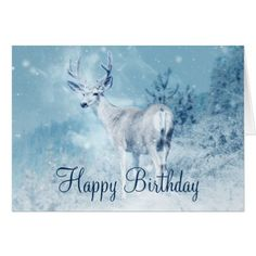 #Winter Deer with Pine Trees Happy Birthday Card - #birthday #gifts #giftideas #present #party