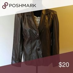 Faux brown leather jacket is a non-leather jacket in a womens size medium;true to size. Get the leather look with jeans or over that cute dress without paying the leather price. This is in great condition. No tags, no wear or defects. Make an offer! It's dark brown in color. Sexy and edgy. mountain lake Jackets & Coats