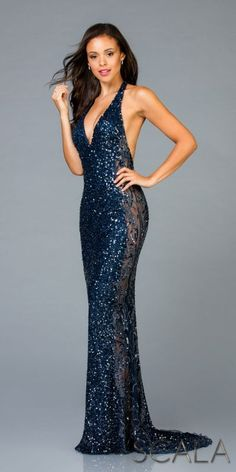 06daae6280 Halter Open Back Fully Sequined Fitted Prom Dress by Scala
