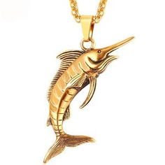 827a54eb6f3 Stainless Steel Swordfish Pendant   Chain Necklace Rock Sea Animal Punk  Kpop Necklaces Men Jewelry