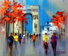 Josep Teixido, Abstract Painter, knife paintings, Paintings, Spanish Artist, Spanish Painter, colorful painting, City Street Scenes, City Paintings,