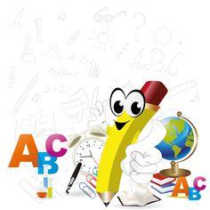 Caricatura de un lápiz escolar - Vector de un lápiz escolar anunciando la vuelta al cole sobre un fondo de elementos escolares.