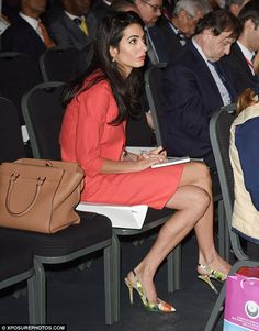 "Amal Alahuddin, George Clooney's fiancee, was seen taking notes during one of the talks at the London summit ""End Sexual Violence in Conflict"", June 2014"
