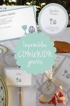 Los imprimibles son gratis. Cada colección incluye tarjetas de nombre, etiquetas para peladillas, y adornos para el pastel y para cupcakes. Printables are free. Each collection includes place cards, treat bag labels, and cake and party circles. http://www.invitaenunclic.com/es/imprimibles-para-fiestas/ceremonias-religiosas