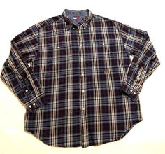 Tommy Hilfiger Vintage 90s men' XL Lion Crest Long Sleeve Cotton Shirt checkered #TommyHilfiger #ButtonFront #tommy #hilfiger #vintage #vintage90s #90s #plaid #buttondown #longsleeve #mens #classic #basic #shirt #top #simple #collar