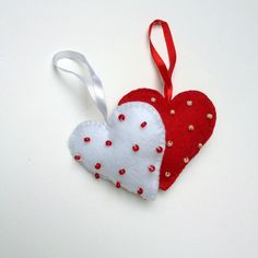 hand-made polka-dotted hearts