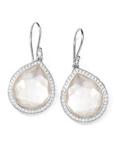 """Y1HV8 Ippolita Stella Teardrop Earrings in Mother-of-Pearl Doublet with Diamonds, 1""""L"""