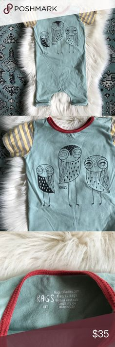 Rags to Raches | Owl Trio Rags to Raches | Owl Trio. Awesome one piece outfit for your little! (If you don't know this brand look it up! It's incredible!) Size 3/4T. Pilling from wash and wear but so much life left in this beauty! Rags to Raches One Pieces Bodysuits