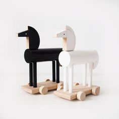 These stylish horses are ready to gallop directly into your child's playroom. Your child can easily move them around the room and, of course, the horses can carry all kind of cargo: dolls, figures, et Toddler Toys, Baby Toys, Kids Toys, Handmade Wooden Toys, Wooden Horse, Montessori Toys, Montessori Bedroom, Wood Toys, Educational Toys