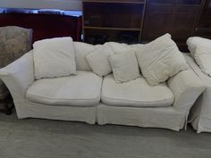 Three Seater Fabric Sofa With Removable And Washable Cover 2 Available --- In Good Condition £20 Each (PC423)