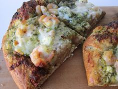 Shrimp & Pesto Pizza with Goat Cheese