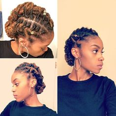 """💚 """"I maintain my locs myself and of course style them myself as well. I am very low maintenance with my locs and I rarely do styles that pull my hair, like this one. I just really like to keep it simple with my locs! Dreadlock Styles, Dreads Styles, Short Locs Hairstyles, Short Dreads, Short Afro, Loc Updo, Dreads Girl, Updo Styles, Natural Hair Inspiration"""