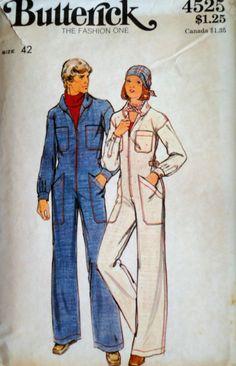 3f8028b30 Vintage 70 s Butterick 4525 Sewing Pattern Men s Jumpsuit Chest 42
