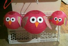 Cute owls made out of paper lanterns, foam cut outs for beak and feet, buttons for eyes, and scrapbook paper for the wings! Great for decorating a nursery or baby shower! Made by Southernbelle Wreaths