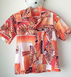 Tropicana Hawaii Vintage 1970s Men's L Button Down Hawaiian Aloha Shirt Orange