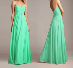 Mint long chiffon bridesmaid dress ,  sweetheart strapless prom dress , Ball gown , evening party  formal dress . Custom made  2014 on Etsy, $124.99