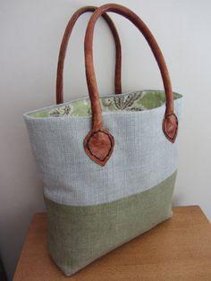 Handmade Linen handbag blue/grey & green with leather handles.  The Cosy Bag Co.