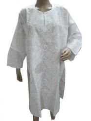 White Long Tunic Chikan Embroidery Cotton Kurti $36.00
