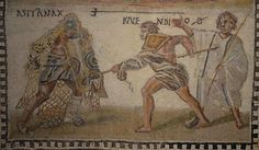 Mosaic showing a retiarius (net-fighter) named Kalendio fighting a secutor named Astyanax, 3rd century AD, National Archaeological Museum of Spain, Madrid.