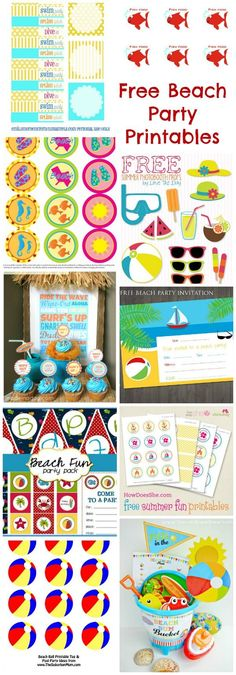 Free Beach Party Printables www.momsandmunchk … Free Beach Party Printables www. Splash Party, Birthday Party For Teens, Luau Birthday, Beach Ball Birthday, Birthday Ideas, Party Fiesta, Luau Party, Fete Emma, Beach Party Invitations