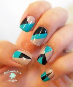 Easy scotch tape nail art: Aqua, nude, and black color block nails