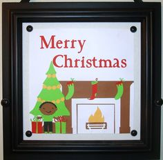 Christmas craft I made with my Cricut machine and a magnet frame!