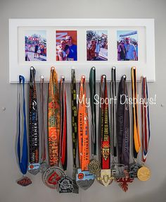 White Sport Medal display with photo frame. by StorageAndDisplay Trophy Display, Award Display, Trophy Shelf, Picture Frame Crafts, Picture Frames, Race Medal Displays, Display Medals, Medal Holders, Race Medal Holder