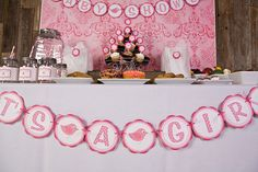 Birdie It's A Girl Banner Baby Shower (Large) - Hot Pink & Light Pink