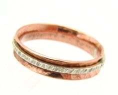 meditation ring, or spinner ring, made of copper and silver