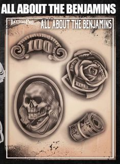 All About the Benjamins – Tattoo Pro Stencils Flash Art Tattoos, Dope Tattoos, Leg Tattoos, 100 Dollar Bill Tattoo, Dollar Tattoo, Smoke Tattoo, 1 Tattoo, Tattoo Design Drawings, Tattoo Sketches