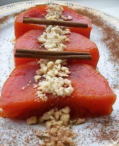 ıt' s delicious. Almost Turkish Recipes: Turkish Pumpkin Dessert (Kabak Tatlısı) Turkish Recipes, Italian Recipes, Turkish Sweets, Bakery Cakes, Fresh Fruits And Vegetables, Food Videos, Food And Drink, Yummy Food, Cooking