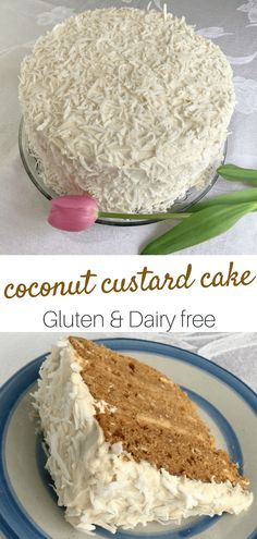 Coconut Custard Cake #dairyfree #glutenfree #coconut #coconutcustard #cleaneatingrecipes #healthydessert