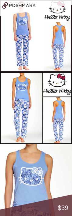 HELLO KITTY PJ SET Pajamas 💟NEW WITH TAGS💟 SIZING- L = 10-12 HELLO KITTY PJ SET Pajamas   * Graphic print top  * Elasticized & stretch to fit drawstring waist   * Super soft fabric  * Scoop neck, tank style racerback tee   * Allover printed bottoms   * 2 piece set   Material: 100% Cotton  Color: Blue & White Item#  🚫No Trades🚫 ✅ Offers Considered*✅ *Please use the blue 'offer' button to submit an offer. Hello Kitty Intimates & Sleepwear Pajamas