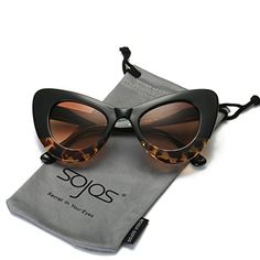 22da815c2a7 SojoS Cat Eye Celebrity Flat Lenses Street Fashion Party Women Sunglasse  With Black-Demi Frame Brown Lens