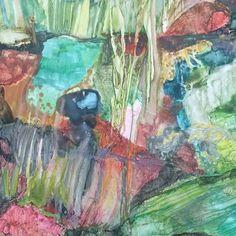 "Waterworld, detail, 11 x 14"", mixed media on Yupo. #water #yupopainting #mixedmediaonyupo #mixedmediapainting #miarisbergart"