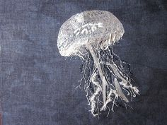 Jellyfish - embroidery on navy linen - Fishmouse Embroidery