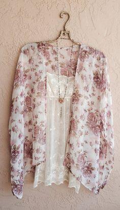 Romantic pastel floral kimono- I want this top and kimono