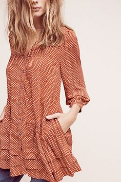 Anthropologie EU Pavin Buttondown Tunic, Orange