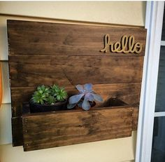 Hello (3D) Wood Planter Box - for Succulents, flowers, plants, mail. Welcome sign, house address number, for patio, deck, porch, etc!