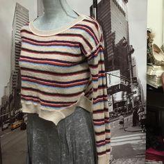 Gorgeous stripe crop top back  hi low sweater Gorgeous stripe crop top back  hi low sweater FP Beach Sweaters