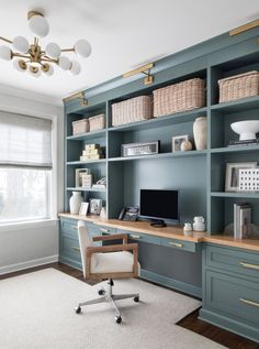 Home Office Space, Home Office Design, Home Office Decor, Home Decor, Office Ideas, Office Furniture, Office Built Ins, Built In Desk, Home Remodeling