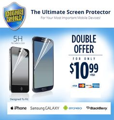 Mighty Shield is an As Seen on TV featured screen protector for iPhone, Galaxy and Android. It is designed with a 5H layer technology which was originally used for jet plane headlight covers and is virtually indestructible. It's also fingerprint resistant and has anti-glare technology. Buy it today at http://www.seentvshowcase.com/mighty-shield-screen-protector/2013/09/ #mightyshield #asseenontv