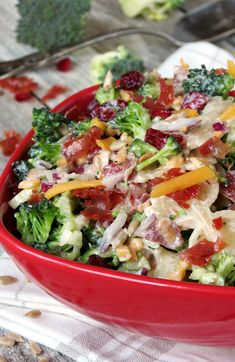 Broccoli Cranberry Pasta Salad | yummyaddiction.com | #salad #broccoli #cranberry #pasta #dressing #recipe