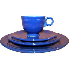A handsome set of four original, early signed pieces of Fiesta dinnerware in the highly desirable cobalt blue color.   -- found at www.rubylane.com @rubylanecom #vVntageBeginsHere