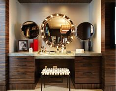 I'd love to have a makeup vanity in my bathroom like this one....