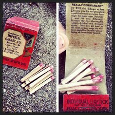 I almost threw these away (and kept the box) because I thought they were matches. NOPE-turns out they are single use lipsticks. They were in a mortuary make up kit, so I'm assuming they were being used on the corpses. Between 1910-1922.