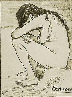"""""""Dolore"""", Vincent van Gogh, 1882; litografia, 44,5x22 cm; collezione privata, Londra."""