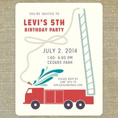 Firetruck Birthday Party Invitations set of 20 with matching envelopes on Etsy, $33.00 |