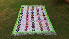 "100""X71"" Hand-woven Moroccan Cotton Throw Blanket Inspired Moroccan Wedding Blanket, Can used as Moroccan carpet"
