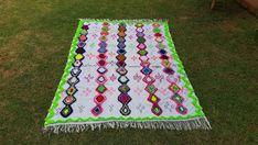 "100""X71"" Hand-woven Moroccan Cotton Throw Blanket Inspired Moroccan Wedding Blanket, Can used as Moroccan carpet"